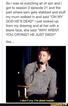 tbh i still cry at that moment.it gets me every time! especially deans speech back pain funny Supernatural Destiel, Castiel, Supernatural Nails, 4 Panel Life, Bubbline, Super Natural, The Lord, Superwholock, Back Pain