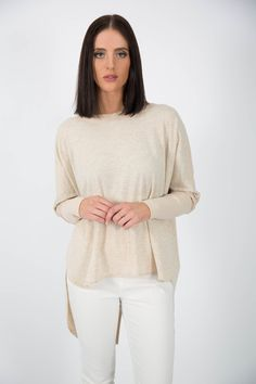 Ice Express Cross Over Ripped Sweat. Ideal for cooler days of autumn or spring. Comes in ecru colour, shade of nude. On sale for $50 now