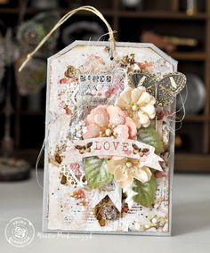 """""""I love making tags! This tag is full of love, which makes it so sweet! I used a lot of layers and embellishments on this tag!"""" ~ Marta Piekarczyk"""