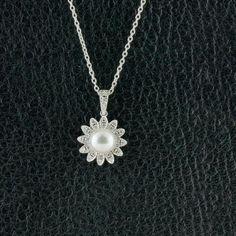 Pearl & Diamond Flower Pendant