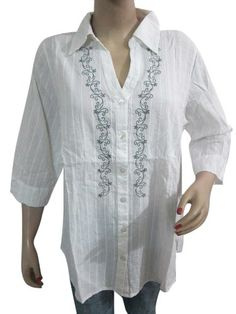White Cotton Shirt Grey Embroidered Peasant Top Blouse TOP X Large Mogul Interior,http://www.amazon.com/dp/B00EY3SVB4/ref=cm_sw_r_pi_dp_TLYjsb1MESZ292FA