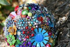 Rainbow Brooch Bouquet