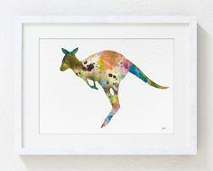 Kangaroo Painting  Art Watercolor 5x7 Archival Print  by ElfShoppe, $15.00