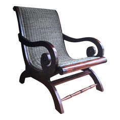 Gorgeous, solid chair with dark cherry stain and handwoven seating. The woven seating on this chair is un. West Indies Decor, West Indies Style, Colonial Chair, British Colonial Decor, Zebra Chair, Colonial Kitchen, Decks And Porches, Tropical Decor
