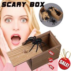 Prank Inset Wooden Scare Box Trick Play Funny Novelties Toys Description: When you remove the lid, the animals in the wooden box will jump out. An amazing box with vivid animals inside. Great toys, make fun of