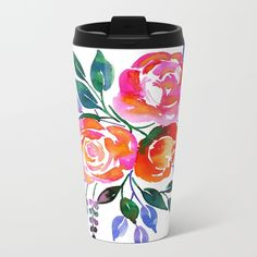 Pink Orange Roses Metal Travel Mug - Watercolor Florals