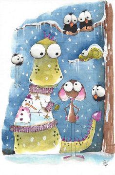Original watercolor painting art Dragon mouse bird crow chameleon spider sweater #Folkartillustration