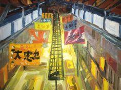 Wakkanai fish market (Mathias Sager, water mixable oil painting on canvas board, 46.7×38.1×0.4 cm (18.4″x15″x0.16″)) #art #artist #painting #oil #oilpainting