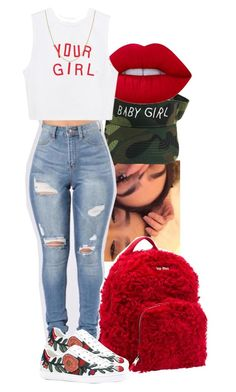 """""""Rojo Life, But I'm not a Blood❤️"""" by mskaylamosley ❤ liked on Polyvore featuring Lime Crime, Miu Miu, Gucci and Fremada"""
