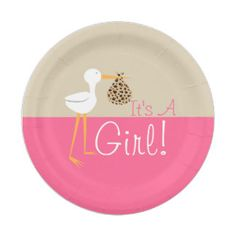 Stork With Leopard Bundle Girl Baby Shower 7 Inch Paper Plate