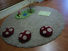 Mushroom cushion stepping stones -- for the babies (and Daniel) for circle time. Need?  Maybe bath rugs would make good fabric for the cushion?