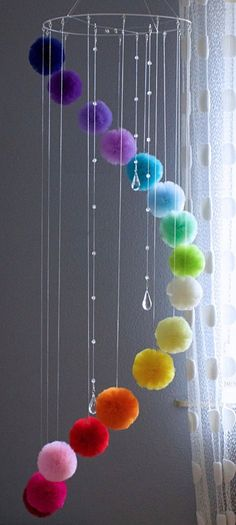 Rainbow Centerpiece for Garden or Living Room, Floating Mobile with Crystals Rainbow Mobile for Nursery Colorful Baby Mobile Teenage Room Rainbow Centerpiece, Centerpieces, Diy Home Crafts, Crafts For Kids, Diy Para A Casa, Mobiles For Kids, Hanging Mobile, Pom Pom Mobile, Pom Pom Crafts
