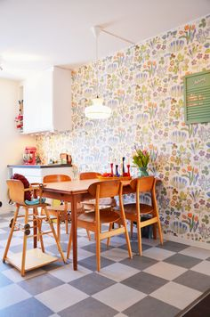 josef frank wallpaper and totally adorable table and chairs (and mixer)...the baby chair, too! haha! love it