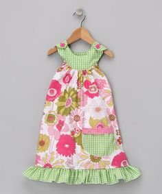 Pink & Green Wild Garden Trapeze Dress    by Beary Basics for $23.99