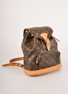 "Brown Monogram Canvas and Leather ""Mini Montsouris"" Backpack"