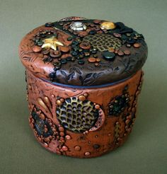 polymer+clay+vases | Lidded Jar Vase Polymer Clay and Glass Found by MandarinMoon