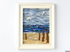 Fabric Beach Scene Collage Art 'Driftwood' in Cream Coloured Frame with Seaside and Button Details by Eliston Button on Etsy