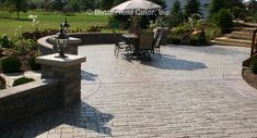 Flip through our gallery of dozens stamped concreted applications. Concrete Patios, Concrete Patio Designs, Cobblestone Patio, Stamped Concrete, Sidewalk, Exterior, Landscape, Verona, Backyard Ideas