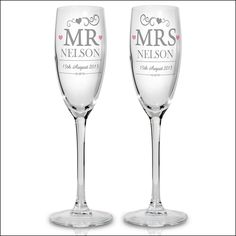 Mr And Mrs Wedding Champagne Flute Pair Personalised With Surname Date Of