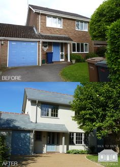 Exterior makeover of this house in Farnham, Surrey. The brickwork has been painted along with new timber windows and doors. The roof covering has been changed to slate, completely transforming this house. WINDOWS, same orientation, just small panes House Cladding, Facade House, House Windows, Home Exterior Makeover, Exterior Remodel, Style At Home, Rendered Houses, House Makeovers, Duplex
