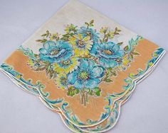 Vintage Hankie, Cream and Turquoise Floral Design, Great For Gifting, Crafting Sewing Collage or for Use Lot D22C - Two Broads and a Shop - 1