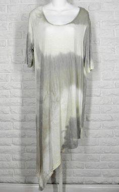 BRYN WALKER Viscose Jersey Tie Dye Angle Hem Moriah Tunic Ivory Taupe Grey New L #BrynWalker #Tunic