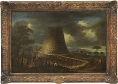 Gaspard Dughet France/Italy 1615‑1675 (follower of). The Tower of Babel. Oil on relined canvas, 58.5 x 88 cm. Provenance: a Swedish private collection.