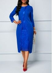 Royal Blue Lace Panel Long Sleeve Sheath Dress Women Clothes For Cheap, Collections, Styles Perfectly Fit You, Never Miss It! Blue Dresses, Dresses For Work, Dresses With Sleeves, Dresses Dresses, Trendy Dresses, Trendy Outfits, Casual Dresses, Sheath Dress, Bodycon Dress