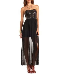 rhinestone sheer chiffon maxi dress