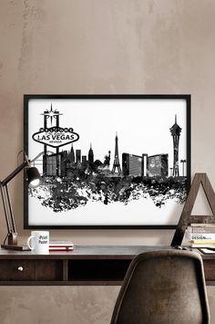Las Vegas skyline Las Vegas cityscape Abstract Las by iPrintPoster