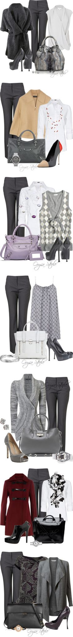 """""""Grey Trousers"""" by orysa ❤ liked on Polyvore"""