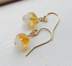 Citrine Moonstone and Pearl Earrings  moonstone by MingJewelsChic