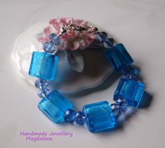 Art Blue Glass and 925 Sterling Silver Bracelet,  Murano Style £18.00