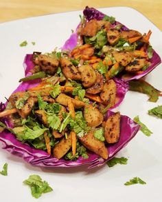 colorfully delicious purple cabbage cups, made with Bilinski's Cilantro Lime and dressing. Purple Cabbage, Cilantro Lime Chicken, Tahini Dressing, Chicken Sausage, Wrap Sandwiches, Fajitas, Favorite Recipes, Stuffed Peppers, Meals