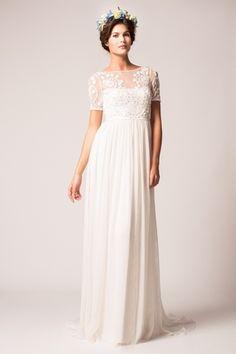 Bateau Sheath Wedding Dress  with Natural Waist in Silk Chiffon. Bridal Gown Style Number:33100140