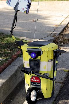DIY Borderlands Claptrap trash can by Our Nerd Home. (Follow the link for tutorial & material list)