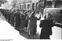Bundesarchiv Bild Budapest, Festnahme von Juden - Budapest, Hungary – Captured Jewish women in Wesselényi Street, October 1944 Jewish History, Women's History, History Photos, World War Two, Historical Photos, Wwii, Image, Budapest Hungary, Holocaust Survivors
