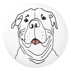No One Smiles Like a Pit Bull Dog Fun Art Ceramic Knob - home gifts ideas decor special unique custom individual customized individualized