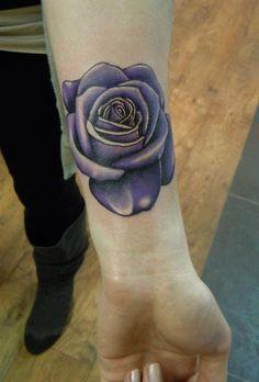 3d purple rose tattoo design