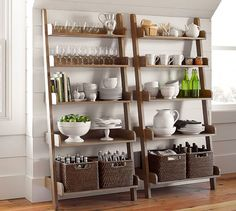 "Studio Wall Shelf $319 (33.75"" wide x 9""-17.75"" deep x 75"" high) Kitchen Shelves, Wall Shelves, Ladder Bookcase, Wooden Stools, Pottery Barn, Wooden Bar Stools, Kitchen Spice Racks, Wall Bookshelves, Kitchen Racks"