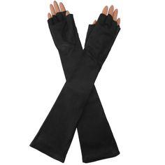 Elbow Length Italian Leather Gloves. Half Fingers, Black, Silk Lined, 12-BT
