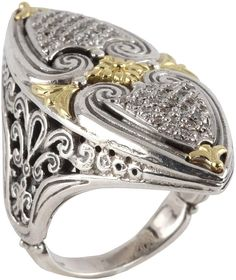 Konstantino Asteri Slim Floral Pave White Diamond Band Ring, Size 7