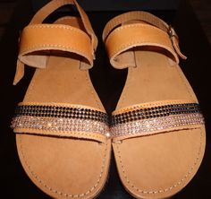 Items similar to Handmade Genuine Leather Ladies Sandals on Etsy Ladies Sandals, Flip Flops, Slip On, Trending Outfits, Lady, Unique Jewelry, Handmade Gifts, Leather, Men