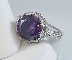 Ladies Round Amethyst CZ Silver Ring~18K WGold Overlay Sz 8- Free Gift Box