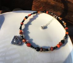 San Francisco Giants Jewelry Choker Necklace Black Orange Mothers Day Gift Valentines Day MLB Baseball SF Silver Plated Beads Crystals by JewelrybyJacobe on Etsy