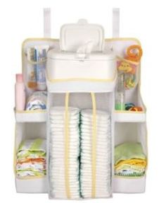 Dex Baby Nursery Organizer Easily attachs to changing table, wall, door or dresser Holds electric wipe warmer or wipe containers Diaper Storage, Diaper Organization, Baby Nursery Organization, Diaper Caddy, Baby Storage, Nursery Storage, Organization Ideas, Storage Cart, Storage Shelves