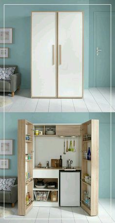 Perfect for the basement Kitchenette Design, Small Kitchenette, Kitchenette Ideas, Studio Kitchenette, Office Kitchenette, Hidden Kitchen, Closed Kitchen, Long Kitchen, 1970s Kitchen