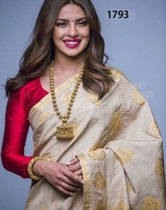 Buy this Bollywood Style Priyanka Chopra Beige Banarasi Silk Saree For Ladies for upcoming wedding events, engagements, receptions at affordable rates from drapino fashion - India's growing online ethnic store for women Bollywood Designer Sarees, Bollywood Saree, Bollywood Fashion, Indian Bollywood, Indian Sarees, Silk Sarees, Cotton Saree, Kerala Saree Blouse, Bengali Saree