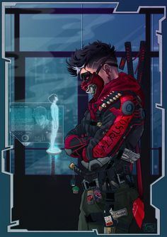 Robin Ninja OniYou can find Cyberpunk and more on our website. Ninja Kunst, Arte Ninja, Ninja Art, Fantasy Character Design, Character Design Inspiration, Character Art, Cyberpunk Kunst, Cyberpunk Tattoo, Cyberpunk 2077
