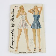Vtg 40's Simplicity Bathing Suit Pattern Swimwear Skirt No. 3771 Size 14...mt this one is already 20 bucks with 4 hours to go. Sure would love to have it but cannot afford it with having to pay my daughters share of bills here AND the extra they went up for her being here wasting electric and not having insurance of her own!!